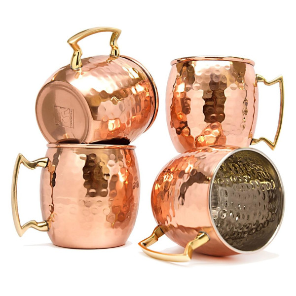 Coppertisan Barrel Hammered Copper Moscow Mule Mugs