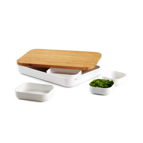 Umbra Bento Cut and Prep Bamboo Cutting Board and Bowl Set, 7-Piece