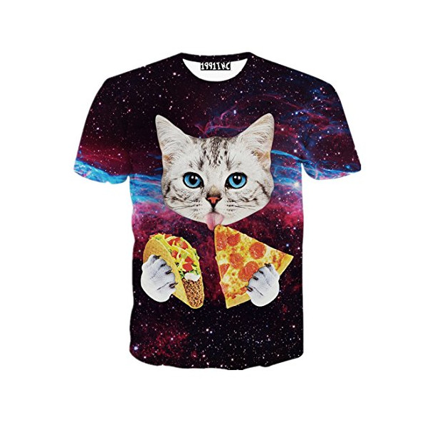 FaPlus Men's Fashion 3D Creative Graffiti Print Pizza Cat T-Shirts M