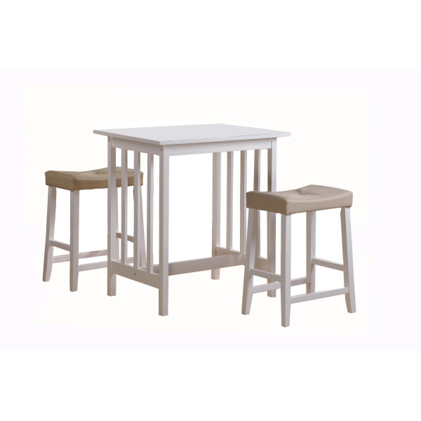 Homelegance Scottsdale 3-Piece Counter Table and Stools, White