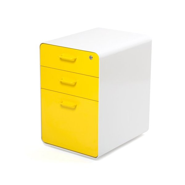 Poppin White + Yellow West 18th 3-Drawer File Cabinet
