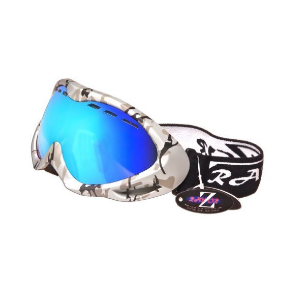 2013 Rayzor Professional UV400 Double Lensed Ski / SnowBoard Goggles, With a Silver Camouflage Frame and an Anti Fog Coated, Vented Blue Iridium Mirrored Anti-Glare Wide Vision Clarity Lens.
