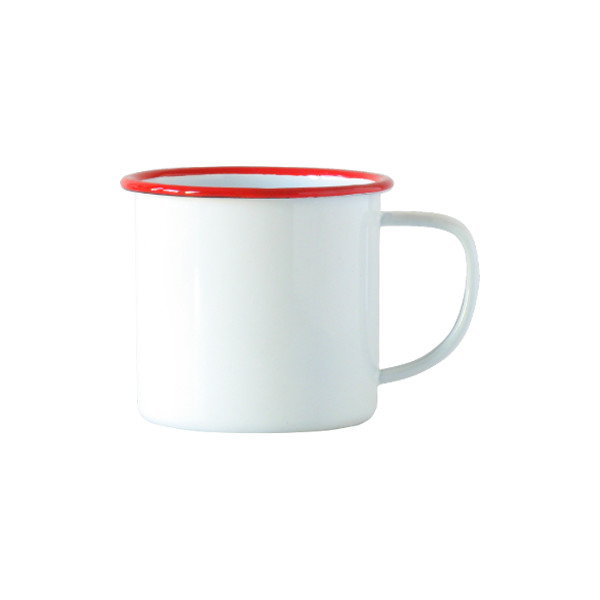 Enamelware Coffee Mug, White with Red Rim