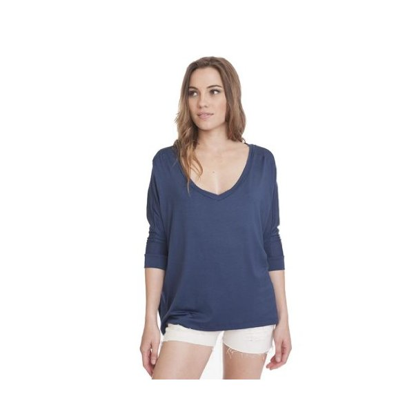 Navy 3/4 Soft Modal Dolman V-Neck T-Shirt Womens Girls Trendy Top Casual-S
