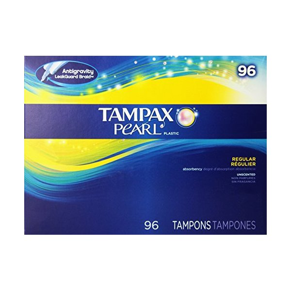 Tampax Pearl Regular Absorbency Unscented Tampons, 96 Count