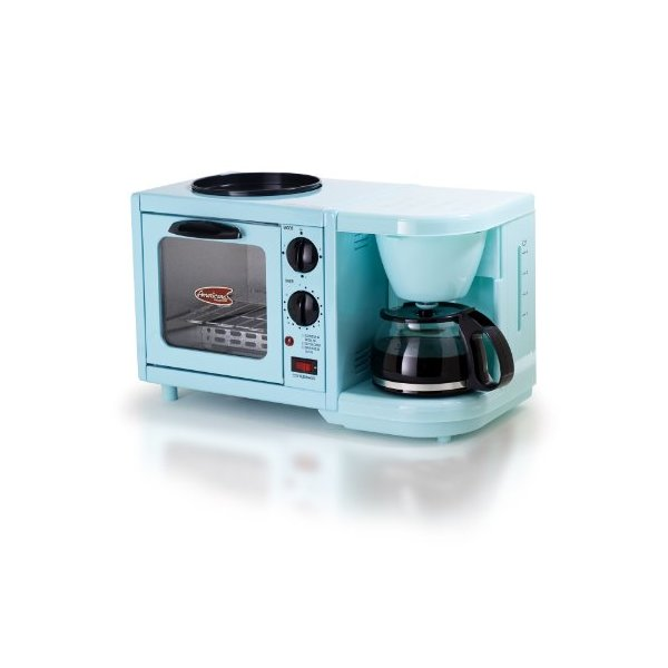 MaxiMatic EBK-200 Elite Cuisine 3-in-1 Multifunction Breakfast Deluxe Toaster Oven/Griddle/Coffee Maker, Blue