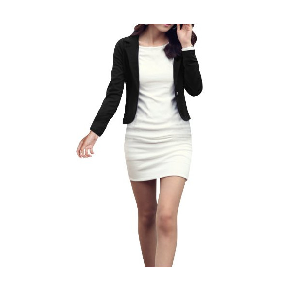 Ladies Soild Color Long Sleeves Casual Blazer Black S