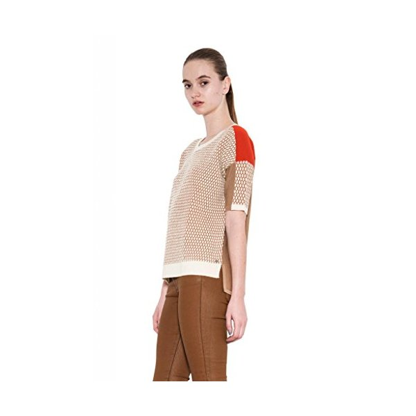 Jaden Knit Short Sleeve Sweater Butterum Combo Stitch Color Blocked Tee-L