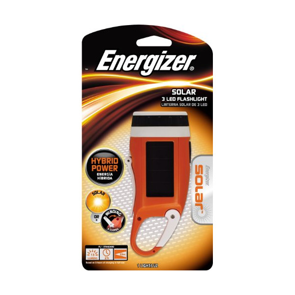 Energizer Solar Rechargeable 3-LED Carabiner Crank Light