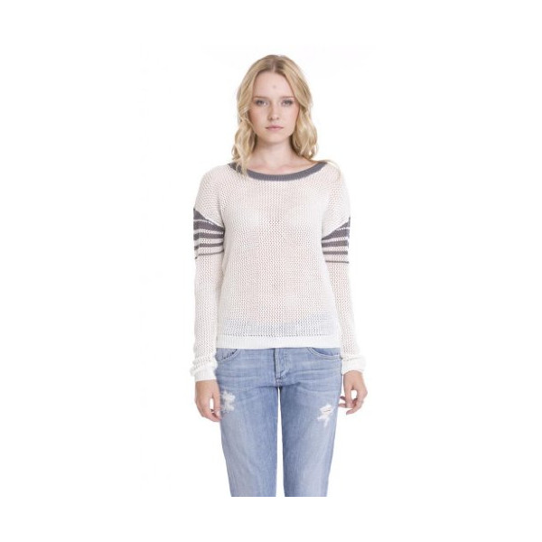Anna Colorblock Pullover Sweater Pointelle Knit Top by One Grey Day-White-L