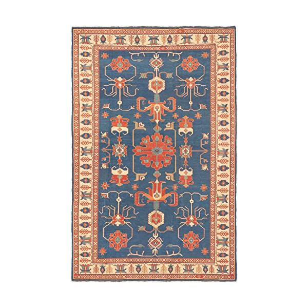 eCarpetGallery Hand woven Nomad 6-Feet 11-Inch by 10-Feet 6-Inch Wool Sumak, Dark Faded Blue