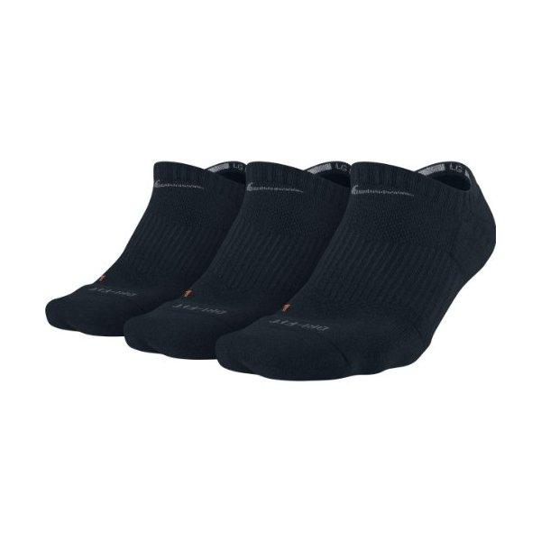 Nike Men's Low Cut Dri-Fit Cotton Cushioned Socks Large (shoe size 8-12) (Black)