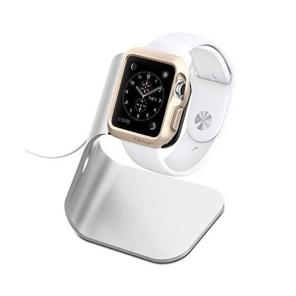 Apple Watch Stand, Spigen® [Charging Dock] Apple Watch Charging Stand **NEW** [Apple Watch Stand] [S330] Aluminum build cradle holds Apple Watch - [Charging Cable & Watch Case & Watch NOT INCLUDED] Comfortable viewing angle easy use quick connection for A