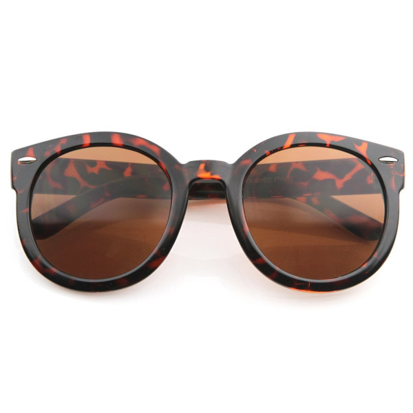 Designer Inspired Mod Fashion Oversized P3 Shaped Round Circle Sunglasses (8623 Tortoise Brown)