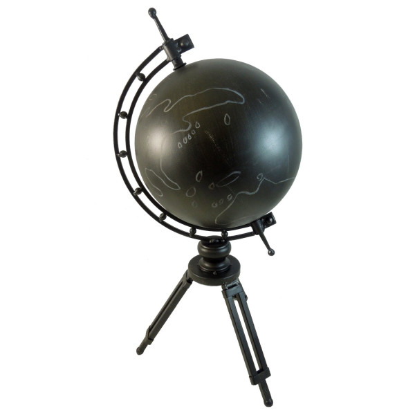 "22"" Matte Black Chalk Chalkboard Globe Antique Vintage Style Tripod Base"