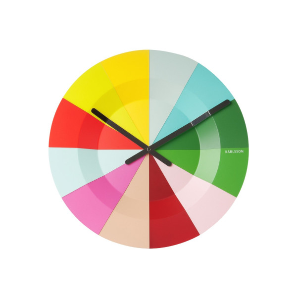 Present Time Karlsson Slices Colorful Wall Clock