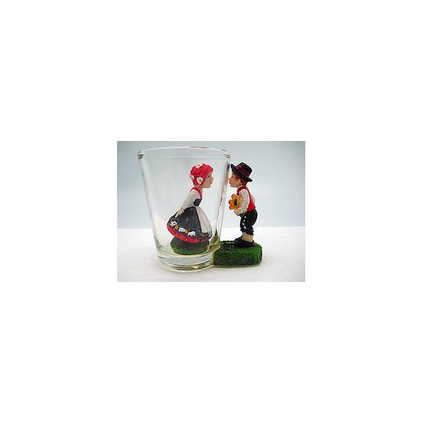 Souvenir Shot Glass: 3-D Scandinavian Couple