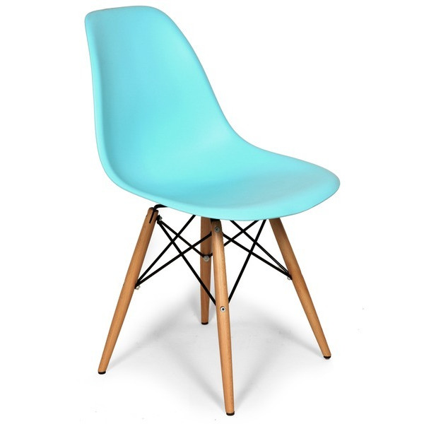 Ocean Blue Eames Style Molded Dining Chair, Set of 2