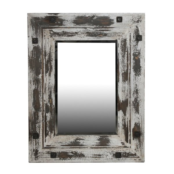 Privilege International 40028 Reclaimed Mirror, Distressed White