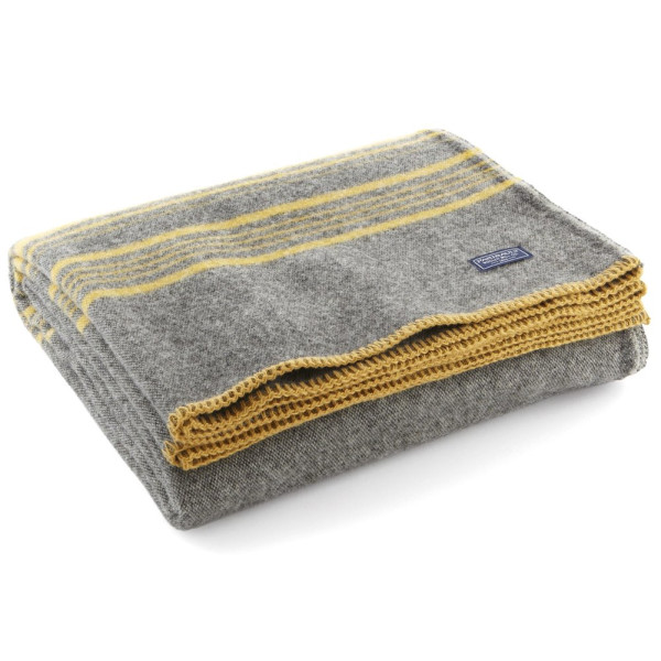 Faribault Weekender Stripe Throw, Charcoal/Gold