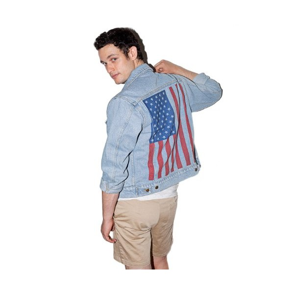 American Apparel Screen Printed Denim Jacket X-Small-Medium Stone Wash Indigo