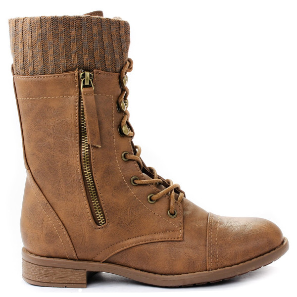 JJF Shoes Justina Tan Leatherette Sweater Cuff Lace Up Zipper Mid Calf Ankle Combat Boots