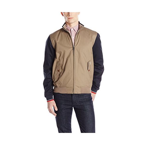Ben Sherman Men's Tipped Harrington Coat, Walnut, Medium