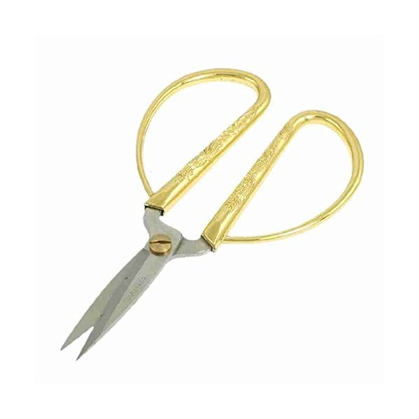"Magentoo(TM) 5.1"" Long Gold Tone Dragon Printed Grip Stainless Steel Blade Scissors"