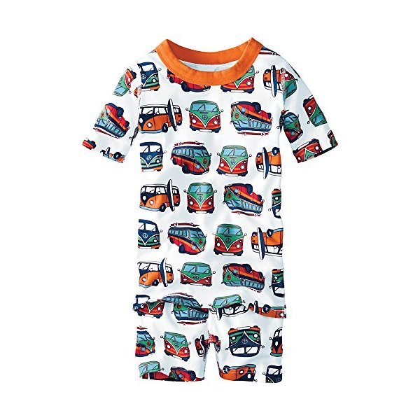 Hanna Andersson Little Boy Short John Pajamas In Organic Cotton, Size 80 (2T), Beach Bus