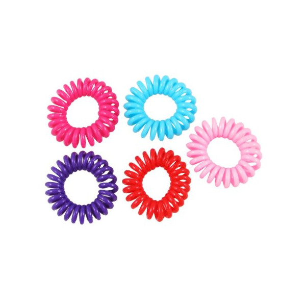 Rosallini 5 Pcs Women Plastic Assorted Color Bouncy Coil Hair Tie Ponytail Holders