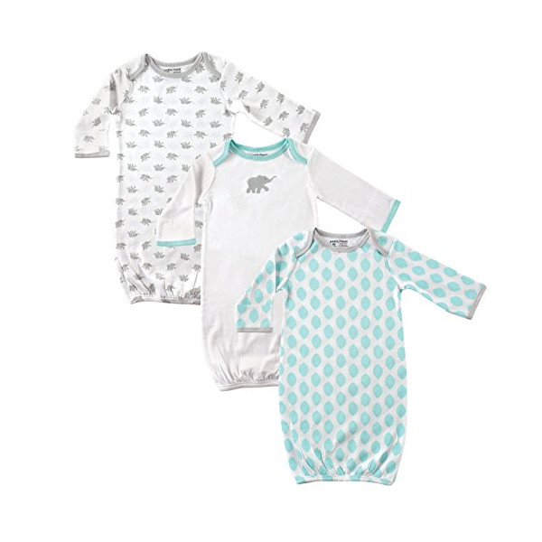 Luvable Friends 3-Pack Rib Knit Infant Gowns, Mint and Grey Elephants, 0-6 months