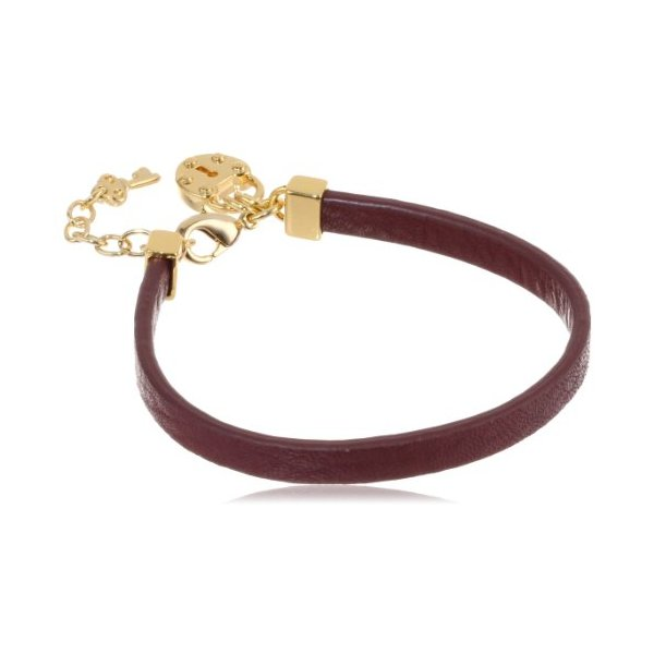Juicy Couture Bordeaux Padlock Leather Single Wrap Bracelet, 5.51""
