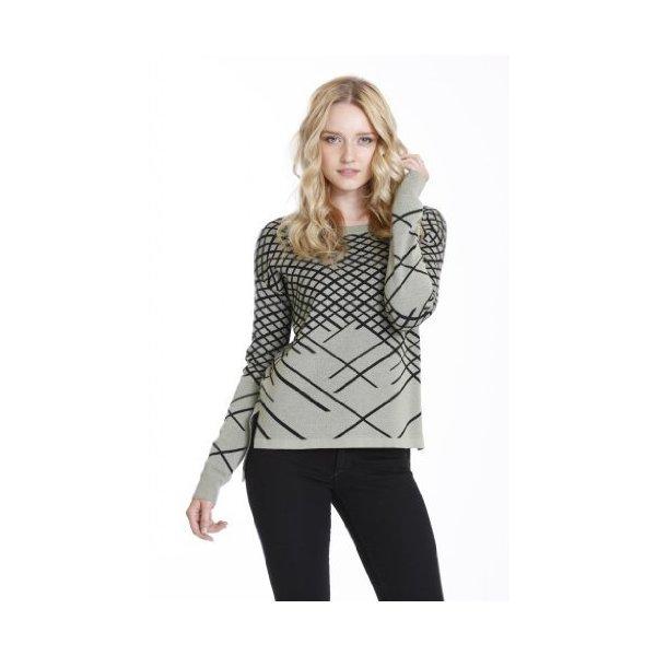 Baker Women's Fashion Long Sleeve Knit Sweaters Green Black by One Grey Day-L