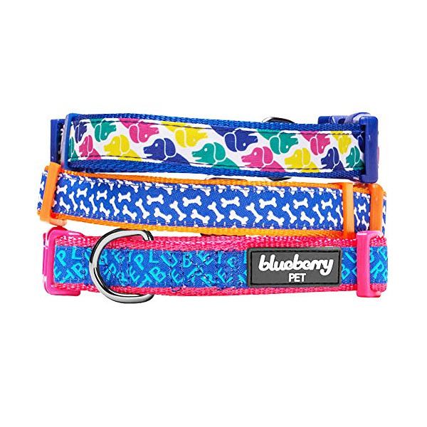 Blueberry Pet 3/4-Inch Iris Blue Yummy Bone Print Dog Collar, Medium, Orange