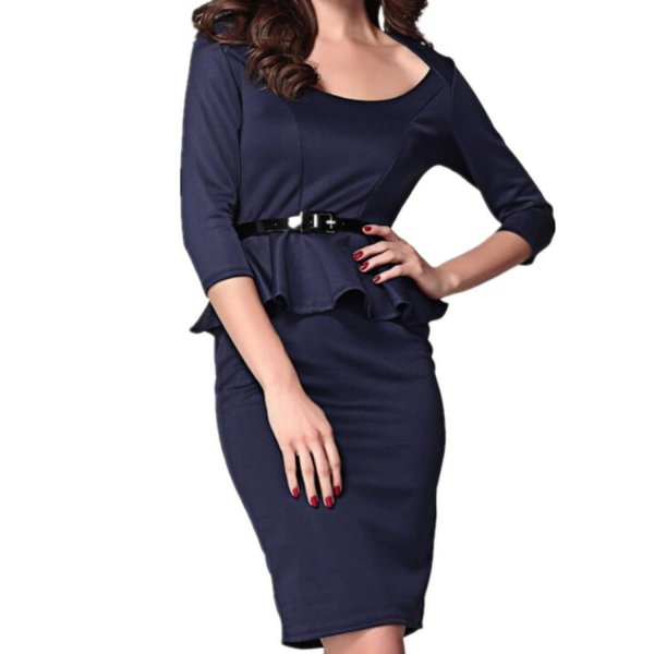 WIIPU womens pencil dress Long Sleeve Belted Peplum Midi Dress(J2-25)-Small black