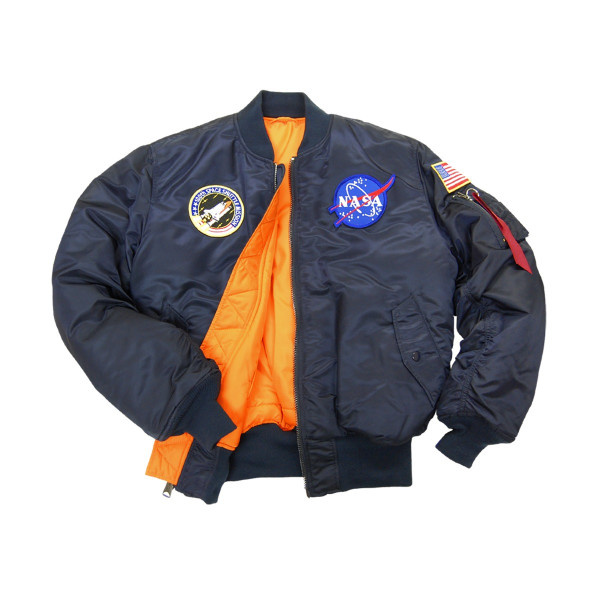 Alpha Industries Men's NASA MA-1 Bomber Flight Jacket, Replica Blue, Medium