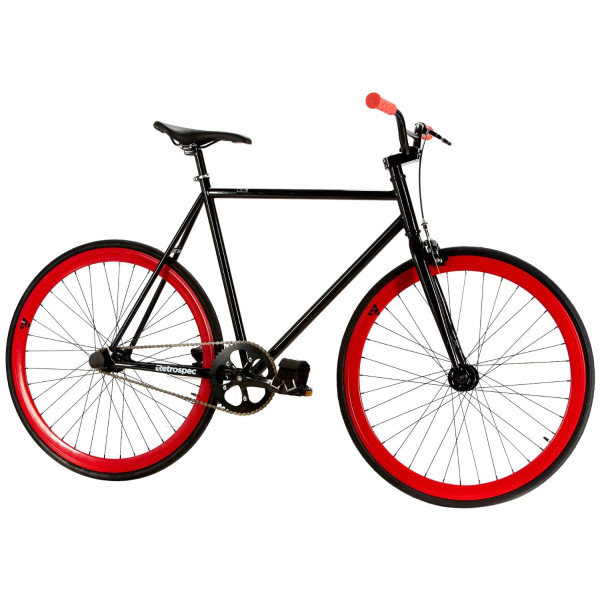 Retrospec Saint Urban Fixed Gear Single Speed FGFS Fixie Road Bike with Sealed Bearing Hubs (Red/Black, Small, 49cm)