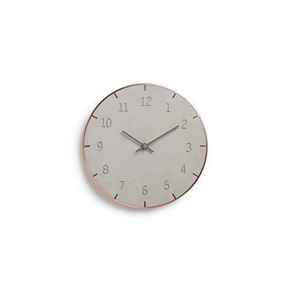 Umbra Piatto Wall Clock, Concrete/Copper