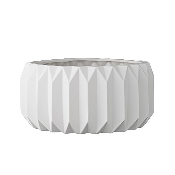 Bloomingville Round Ceramic Fluted Flower Pot, Shallow White