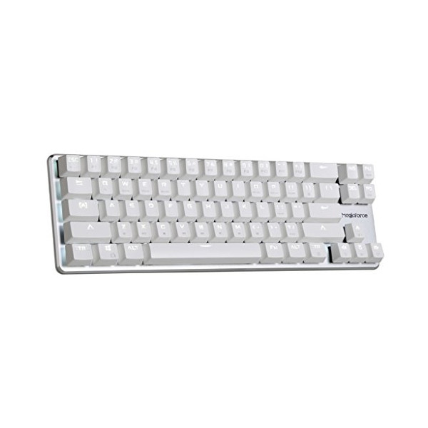 Qisan Gaming Keyboard Mechanical Wired Keyboard Cherry MX Brown Switch Backlight keyboard 68-Keys Mini Design Come with Free Data OTG Cable-White Magicforce