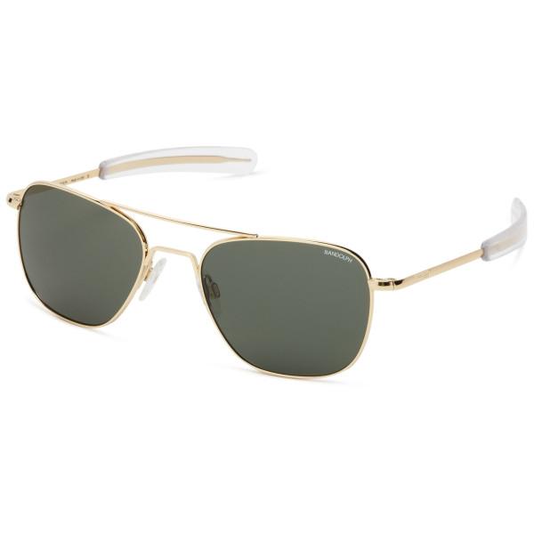 Randolph Aviator Square Sunglasses, 23K Gold Plated