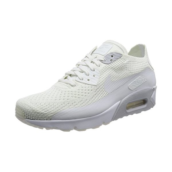Nike Men's Air Max 90 Ultra 2.0 Flyknit White/White Pure Platinum Running Shoe 10.5 Men US