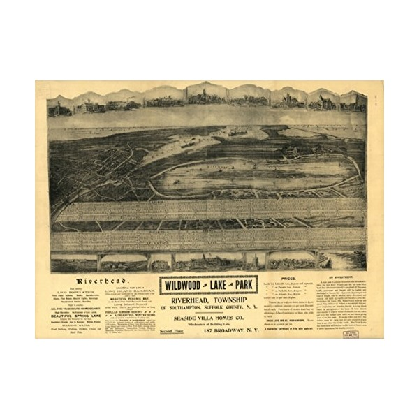 1903 Vintage Map of Riverhead, New York Wildwood Lake Park, Riverhead, Township of South