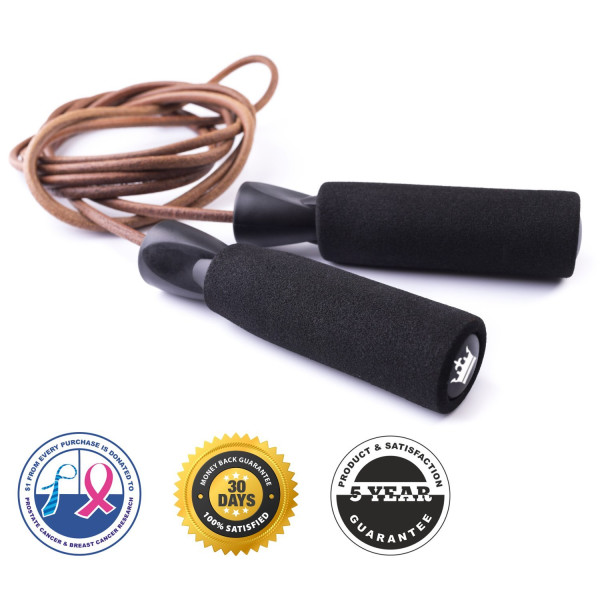 Voted #1 Leather Jump Rope for Fitness Training - $1 From Every Purchase is Donated to Prostate and Breast Cancer Research - Premium Quality - Great Boxing and CrossFit Speed Workout - Best Exercise for Heart Health - The King Athletic Leather Jumping Rop