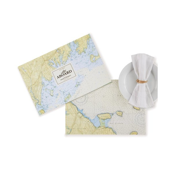 Two's Company 48-Piece Nautical Map Placemat Book