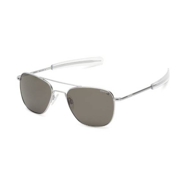Randolph Aviator AF54634 Polarized Square Sunglasses,Matte Chrome,55 mm