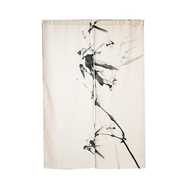 "KARUILU home Japanese Noren Doorway Curtain / Tapestry 33.5"" Width x 47.2"" Long (Ink Bamboo)"