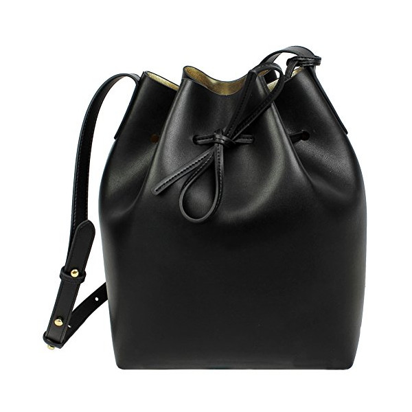 Lush Leather Smooth Bucket Black Metallic Gold Bag