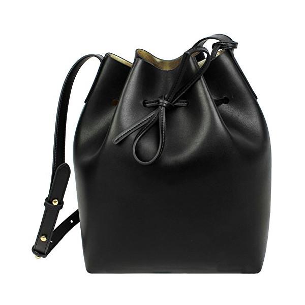 Lush Leather Smooth Bucket Black Metallic Gold Bag