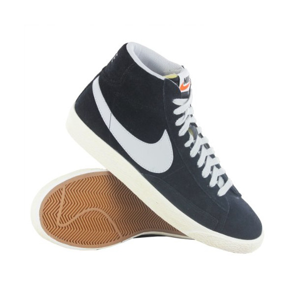 Nike Blazer Mid Premium Vintage Black Grey Suede Mens Trainers